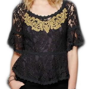 Free People Gray Lace Embroidered Peplum Top XS
